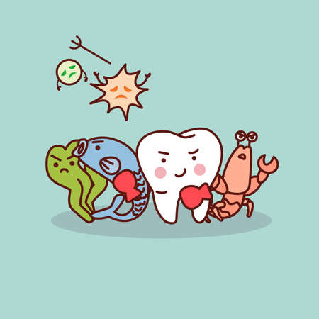 health care fight: fish and shrimp is health for tooth - health cartoon tooth boxing with bacteria, great for health dental care concept Illustration