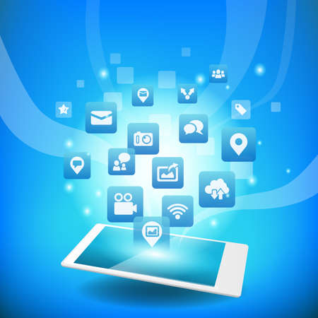 cloud search: Social media concept - smart phone or digital tablet pc with Social media icon Illustration