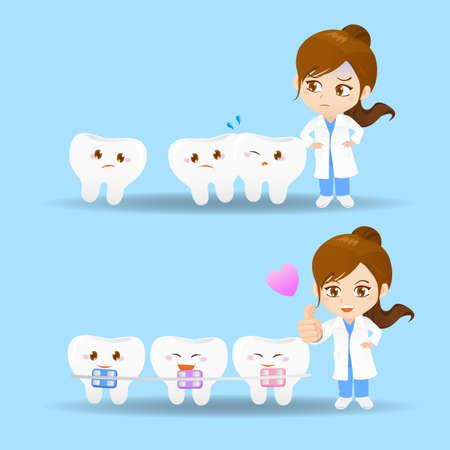 enfermera caricatura: Conjunto de la historieta de la mujer m�dico dentista con los dientes y aparatos ortop�dicos