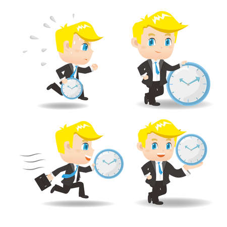 runner up: cartoon illustration set of Success and excited Business man hold clock Illustration