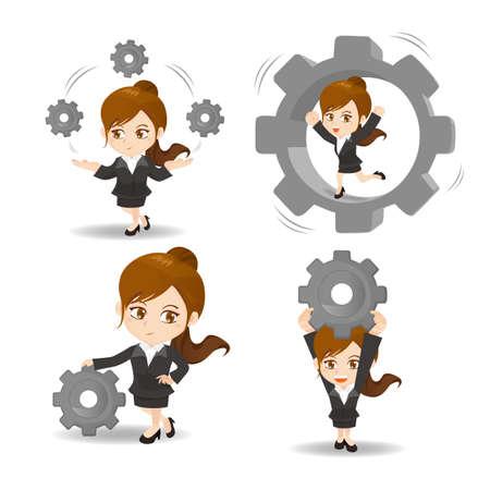 ingeniero caricatura: ilustraci�n de dibujos animados conjunto de negocios de engranajes de suspenso de mujer