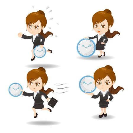 runner up: cartoon illustration set of Success and excited Business woman hold clock