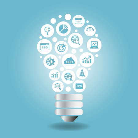 bright ideas: SEO Concept - SEO icon with light bulb with blue background Illustration