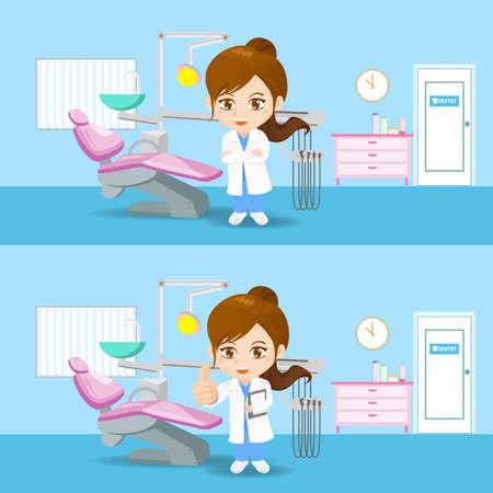 limpieza: Conjunto de la historieta de la mujer médico dentista en el consultorio dental