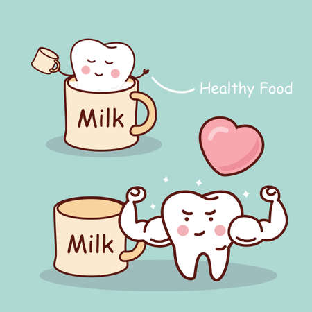 tooth cartoon: Milk is good for tooth - Super health cartoon tooth, great for health dental care concept Illustration