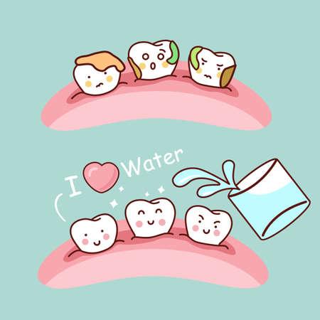 diente caricatura: Agua o hacer gárgaras con el diente de dibujos animados lindo, grande para el concepto de cuidado dental de la salud