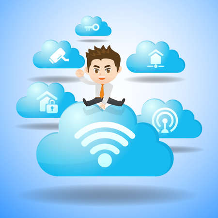 social system: Internet of Things concept - Cartoon business man jump over IoT and cloud icon Illustration
