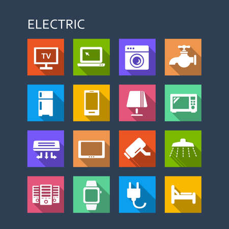 ex: All kinds of household electric appliance ex. TV, refrigerator, Computer , smart phone, digital tablet, bed icon set - Flat Series with long shadows