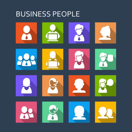 call center woman: Business people icon set - Flat Series with long shadows