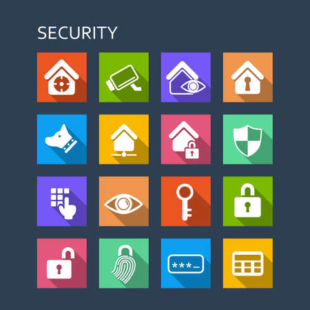 secret code: Home security concept icon set - Flat Series with long shadows Illustration