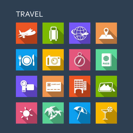 an illustration: Travel icon set - Flat Series with long shadows