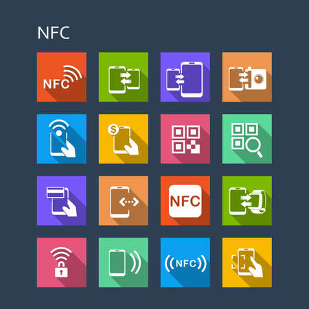 technolgy: NFC technolgy icon set - Flat Series with long shadows