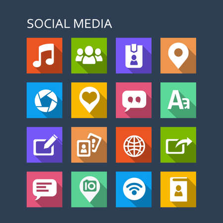 social media icon set: Social media icon set - Flat Series with long shadows