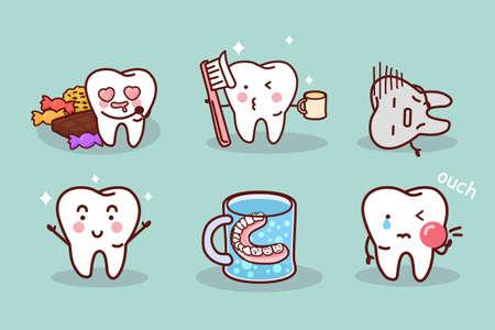 muela caricatura: cepillo de dientes de dibujos animados lindo y limpio, ideal para concepto de cuidado de la salud dental