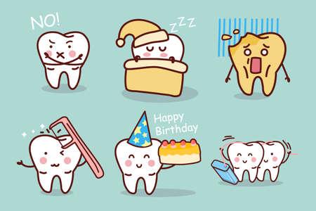 diente caricatura: diente de la historieta con hilo dental en la noche, ideal para el concepto de cuidado de la salud dental