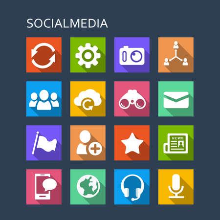 red informatica: Conjunto de iconos de los medios sociales - Serie plana con largas sombras