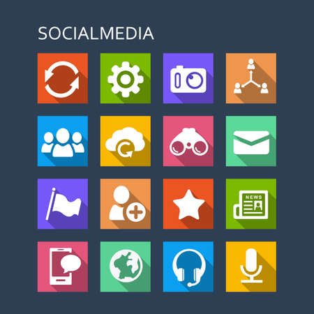 mail: Social media icon set - Flat Series with long shadows