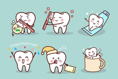 diente caricatura: cepillo de dientes de dibujos animados lindo y limpio, ideal para concepto de cuidado de la salud dental