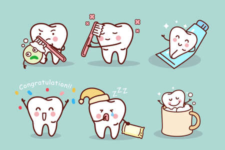 tooth cartoon: cute cartoon tooth brush and clean, great for health dental care concept