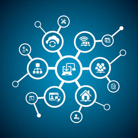 cloud technology: Network concept - Network and internet icon connect together