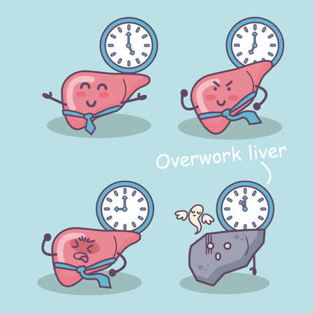 overwork: overwork liver, great for health care concept Stock Photo