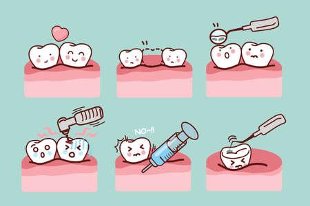 muela caricatura: diente de dibujos animados con el equipo dental, ideal para concepto de cuidado de la salud dental Foto de archivo