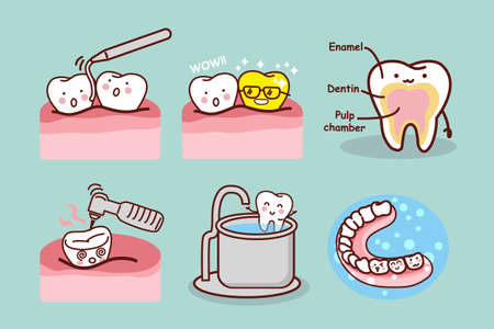 hospital dibujo animado: diente de dibujos animados con el equipo dental, ideal para concepto de cuidado de la salud dental Foto de archivo