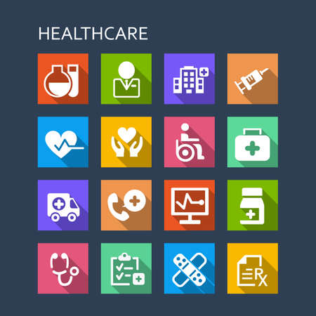 dispensary: Health Care icon set - Flat Series with long shadows