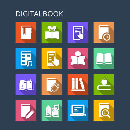 digital book: Digital Book icon set - Flat Series with long shadows