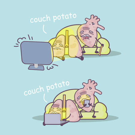 couch potato: Be couch potato is unhealthy to lung and heart, great for health care concept