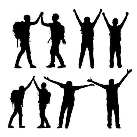 klimmer: Silhouet van Succes mannen bergbeklimmer vieren samen en geeft high five met een witte achtergrond