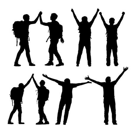 high five: Silhouette of Success men mountain climber celebrate together and giving high five with white background