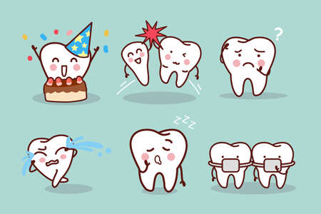 carious cavity: cartoon tooth with expression, great for health dental care concept Illustration