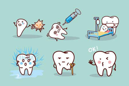 muela caricatura: la cavidad del diente de dibujos animados, ideal para el concepto de cuidado de la salud dental