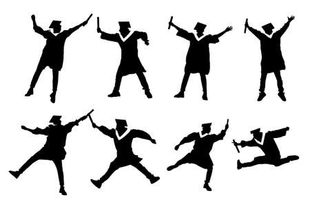 classmate: Silhouettes of excited happy college graduate student jump and holds diploma with classmates