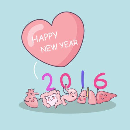 surgery doctor: Happy new year with cartoon heart, lung, liver, stomach and intestine, great for health care concept