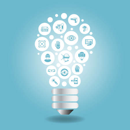 idea light bulb: Virtual Reality concept - icon with light bulb with blue background Illustration