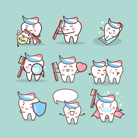 tooth brush: cute cartoon tooth brush and clean, great for health dental care concept