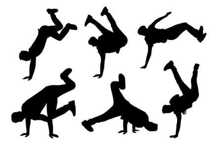 bailarines silueta: Silueta de hombre joven de baile hip-hop con el fondo blanco