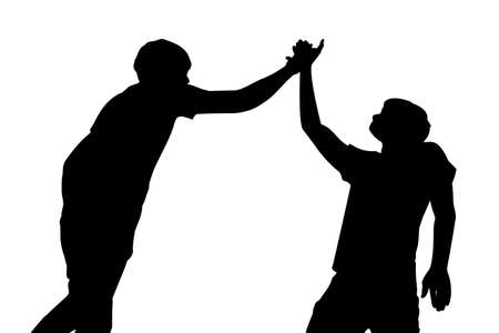high five: Silhouette of Success men give high five celebrate with white background Illustration