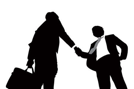 businessmen handshake: Silhouettes of successful business men handshaking with white background