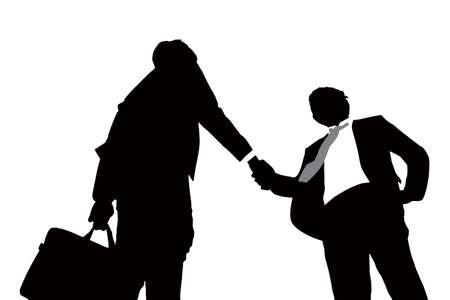 saludo de manos: Siluetas de hombres de negocios apretón de manos acertado con el fondo blanco