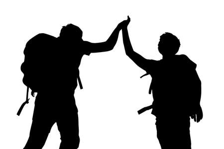 high five: Silhouette of Success men mountain climber give high five with white background Illustration