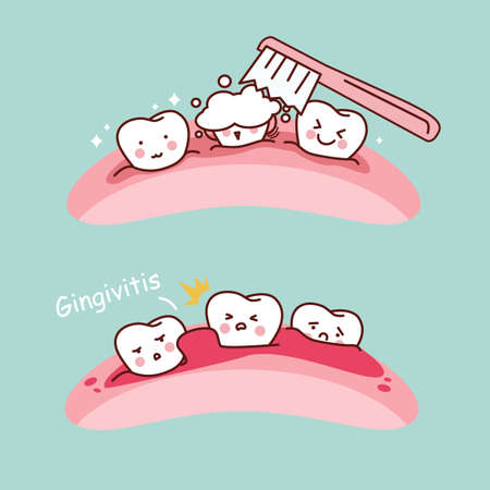 gingivitis: cartoon tooth brush and gingivitis, great for health dental care concept