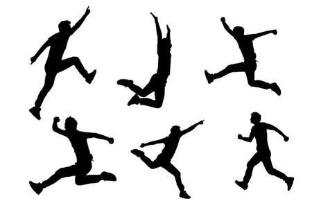 male silhouette: Silueta de �xito hombre saltar y correr con el fondo blanco