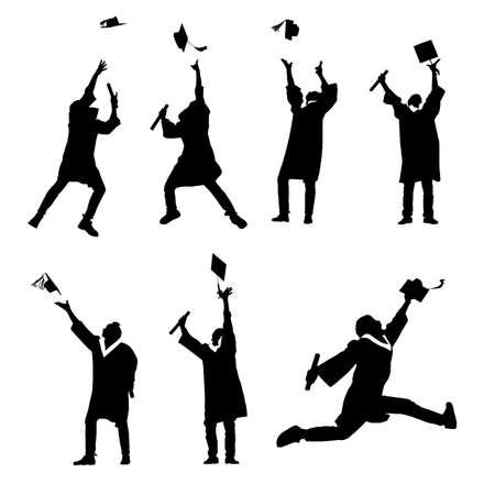 toga y birrete: Silhouettes of excited happy college graduate student jump and holds diploma with classmates