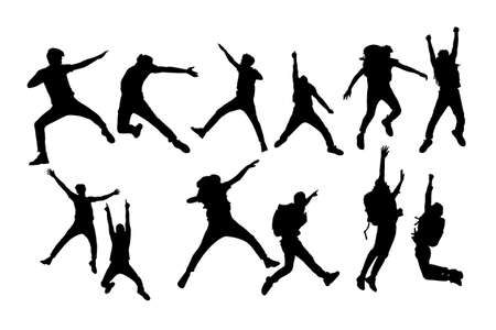 mountain climber: Silhouette of Success man mountain climber jump with white background