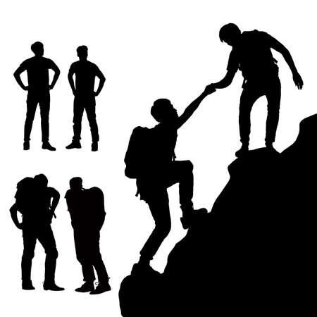 klimmer: Teamwork concept - Silhouet van Succes mannen bergbeklimmer met een witte achtergrond Stock Illustratie