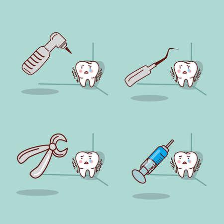 hospital caricatura: diente de dibujos animados con el equipo dental, ideal para concepto de cuidado de la salud dental Vectores