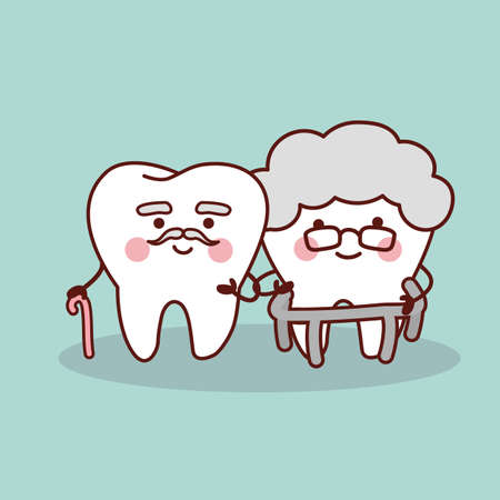 older couple: Happy cartoon old tooth, great for health dental care concept Illustration